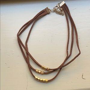 Jewelry - Three layer brown suede chocker necklace
